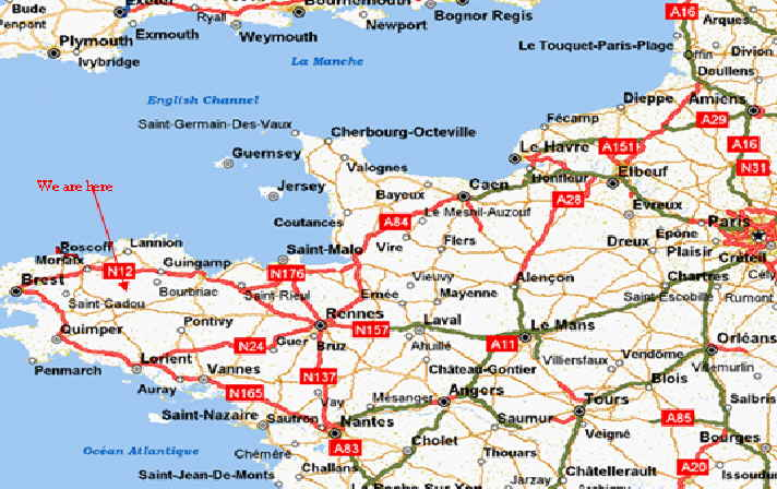 Location central Brittany exact location routes from ports and